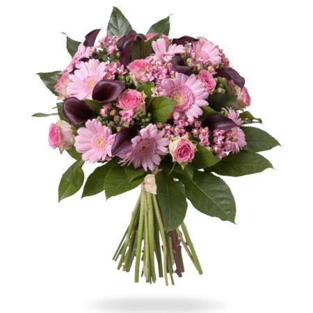 Fleurig boeket met roze en paars tinten