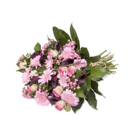 Rouwboeket in roze en paars tinten