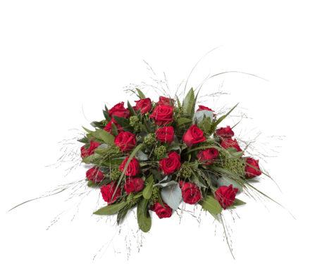 Rouwstuk biedermeier met rode rozen