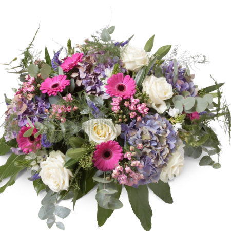 Rouwstuk met roze en paars tinten