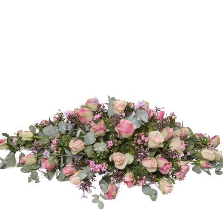 Rouwstuk ovaal roze