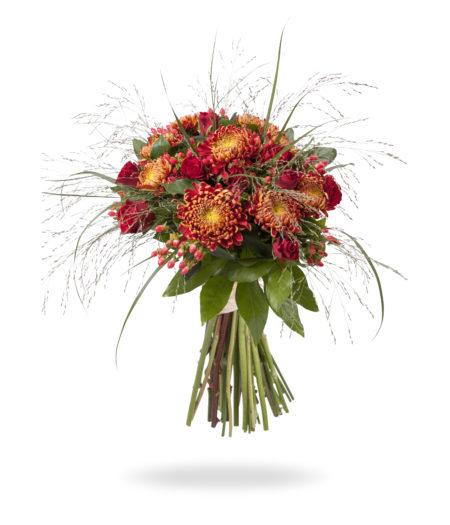 Warm boeket met Chrysanten en rozen